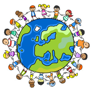 Glückliche Kinder im Kreis halten die Hände auf einer Welt voll Frieden
